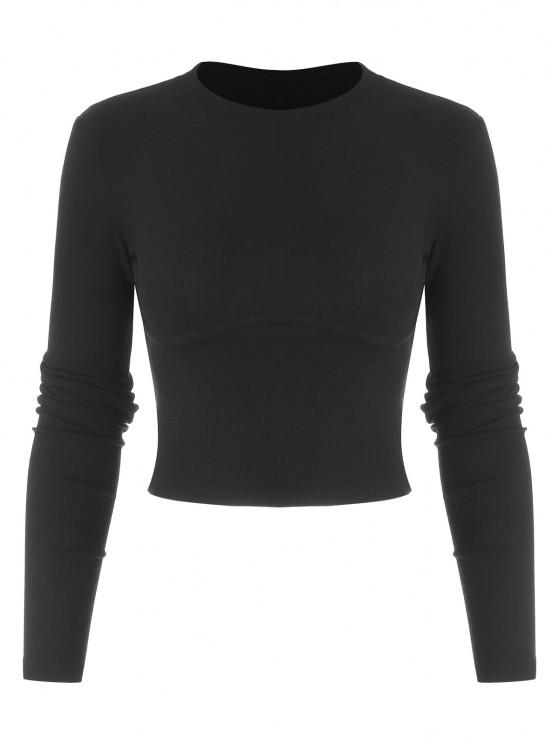 women's Cropped Solid Ribbed Baby Knitwear - BLACK L