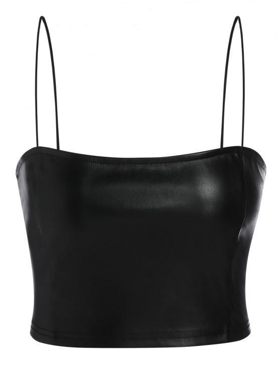 lady ZAFUL Faux Leather Cami Plain Tank Top - BLACK S
