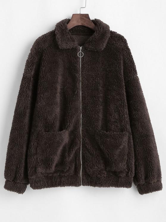 unique ZAFUL Faux Fur Front Pocket Teddy Coat - MOCHA XL