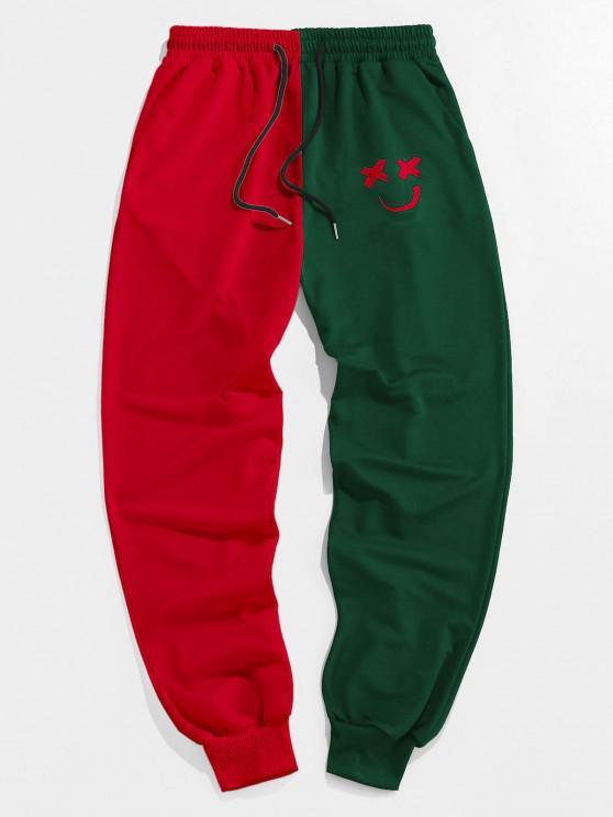ZAFUL Pantalon de Survêtement Bicolore Dessin Animé Imprimé - Vert profond M