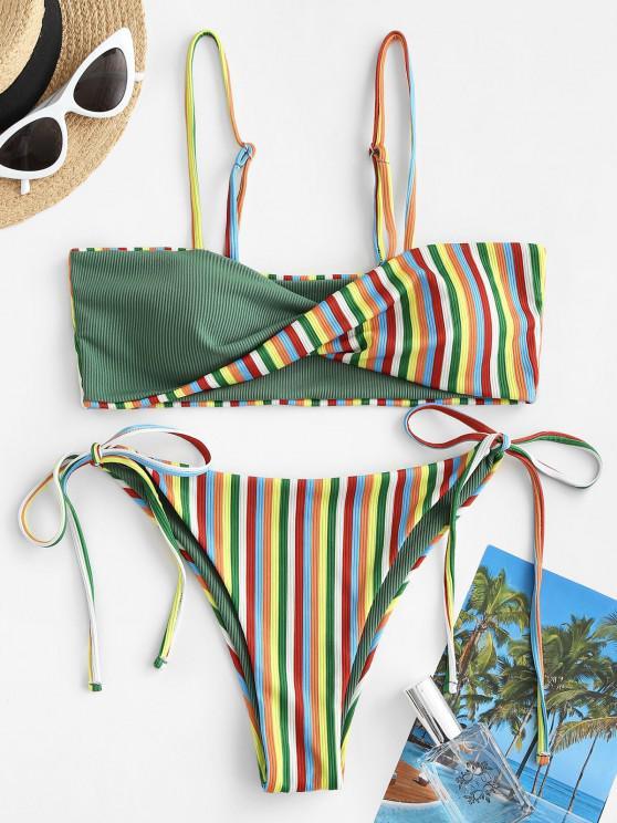 new ZAFUL Striped Twist Tied Ribbed Bikini Swimwear - LIGHT GREEN M