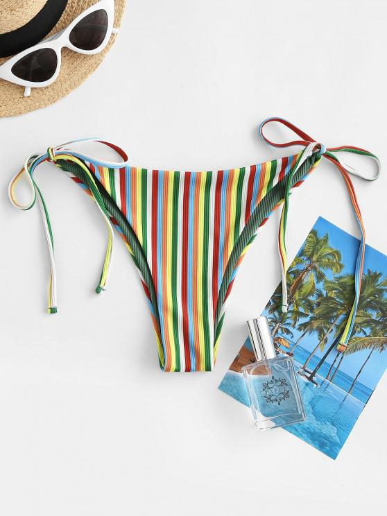 outfit ZAFUL Striped Ribbed Tie Side Bikini Bottom - MULTI S