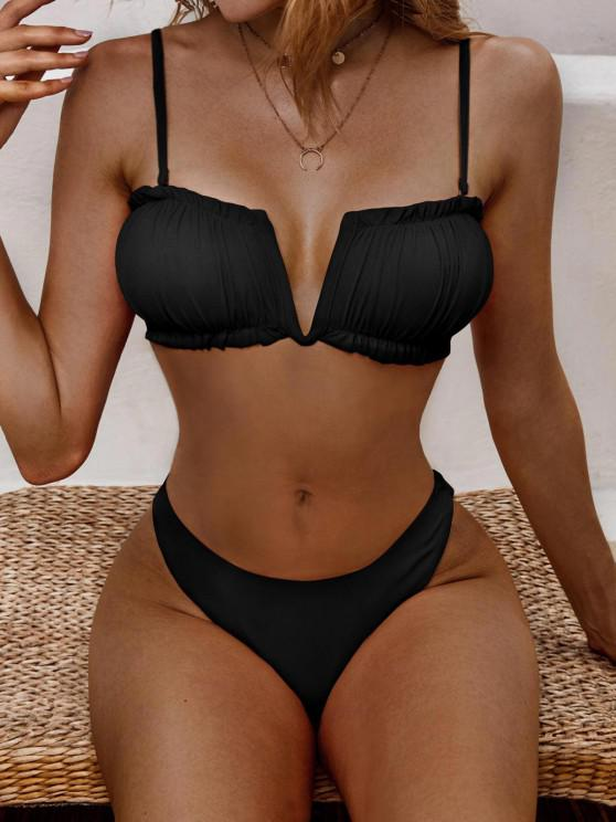 outfit ZAFUL Ribbed V-notch Ruched High Cut Bikini Swimwear - BLACK M