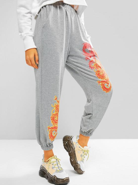 Pantalon de Jogging à Imprimé Oriental Graphique avec Poche - Gris L