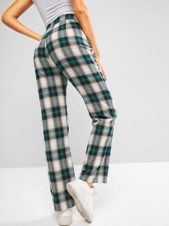ZAFUL Pantalon Droit à Carreaux en Flanelle à Taille Haute - Vert Pin M