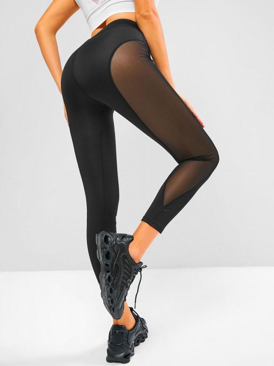 womens Mesh Side High Waisted Sports Leggings - BLACK XL