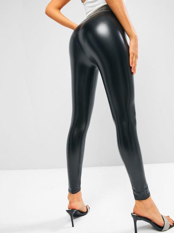 women PU Leather High Waisted Disco Leggings - BLACK M