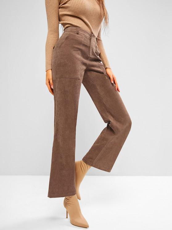 ZAFUL Pocket Corduroy Flap Detail Straight Pants - قهوة M