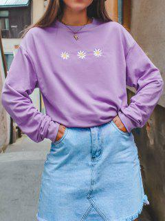 Crew Neck Daisy Embroidered Sweatshirt - Light Purple S
