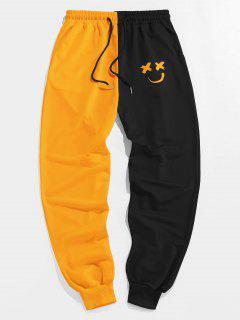ZAFUL Cartoon Print Two Tone Sweatpants - Bright Yellow M
