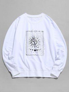 Sweat-shirt Graphique Lune Et Soleil à Col Rond - Blanc Xs