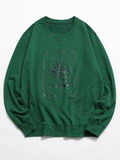 Sun And Moon Graphic Crew Neck Sweatshirt - Deep Green 2xl