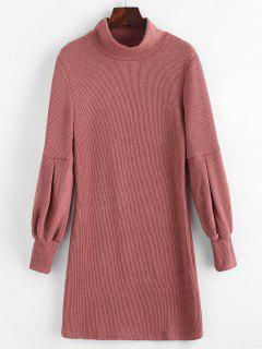 Lantern Sleeve High Neck Sweater Fitted Dress - Pink M