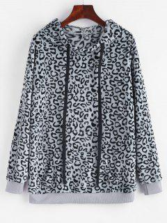 Leopard Kangaroo Pocket Plush Faux Fur Hoodie - Gray L