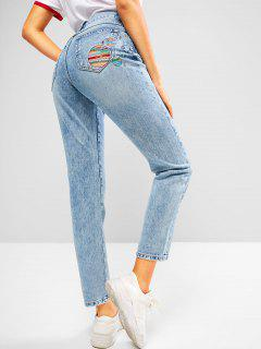 ZAFUL Embroidered Faded High Rise Mom Jeans - Deep Blue S