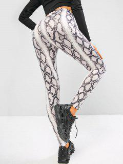 Snakeskin High Waisted Skinny Leggings - White L