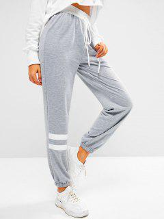 ZAFUL Tied Waist Striped Pull On Jogger Pants - Light Gray M