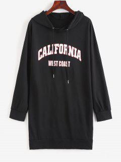 Drop Shoulder Graphic Shift Hoodie Dress - Black S