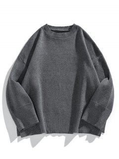 Drop Shoulder Solid Side Slit Knit Sweater - Carbon Gray L