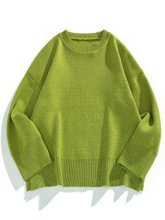 Drop Shoulder Solid Side Slit Knit Sweater - Fern Green M
