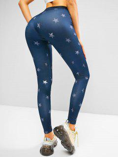 Stars Graphic High Rise Embossed Waist Leggings - Deep Blue S