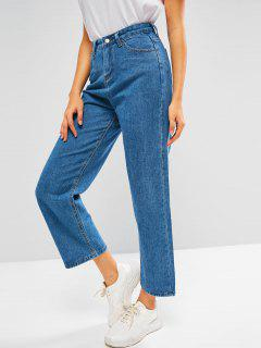 Plain Baggy Wide Leg Jeans - Blue L