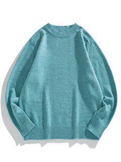 ソリッドクルーネックラグランスリーブセーター - 青いツタ M