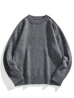 Solid Crew Neck Raglan Sleeve Sweater - Carbon Gray L