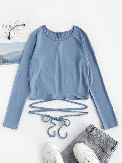 Criss Cross Solid Tie-around Baby Tee - Blue Gray M