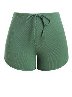 ZAFUL Plus Size Ribbed Drawstring Swim Boyshorts - Green Xxxl