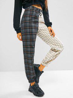 Plaid Colorblock Drawstring Elastic Hem Pants - Black S