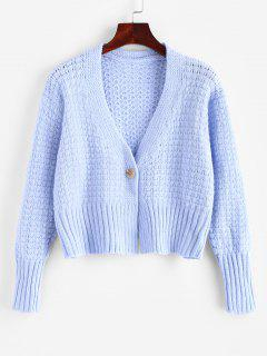 One Buttoned Cropped Pointelle Knit Cardigan - Light Blue