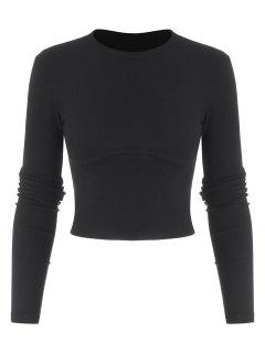 Cropped Solid Ribbed Baby Knitwear - Black M