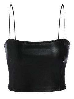 ZAFUL Faux Leather Cami Plain Tank Top - Black Xl
