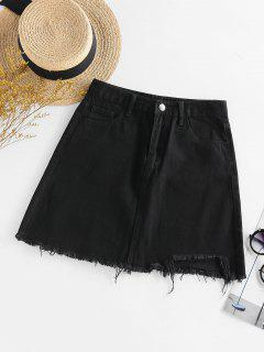Frayed Mini A Line Skirt - Black S