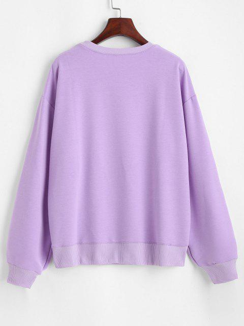outfit Crew Neck Daisy Embroidered Sweatshirt - LIGHT PURPLE S Mobile