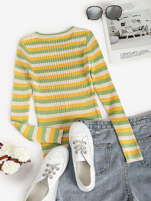 Gerippte Gestreifte Einbau Sweater - Hellgrün Eine Größe Mobile