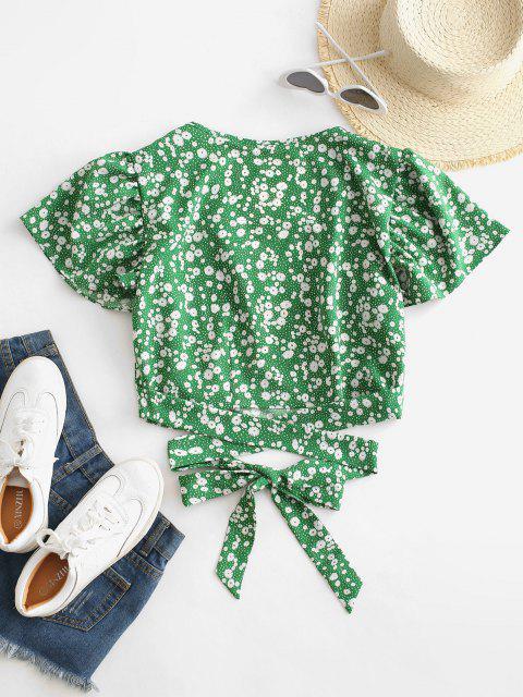 shops Ditsy Print Surplice Tie Hem Crop Blouse - GREEN SNAKE S Mobile