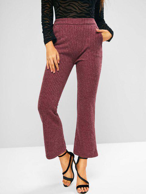 women Knitted High Waisted Pocket Boot Cut Pants - DEEP RED M Mobile