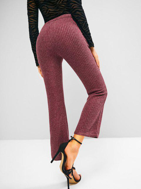 womens Knitted High Waisted Pocket Boot Cut Pants - DEEP RED S Mobile