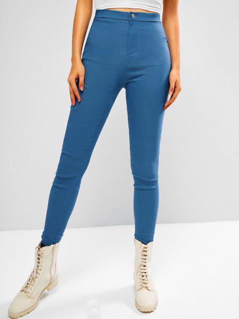 fancy Colored Plain High Waisted Leggings - LIGHT BLUE S Mobile