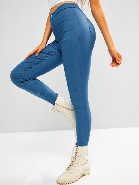 affordable Colored Plain High Waisted Leggings - LIGHT BLUE XL Mobile