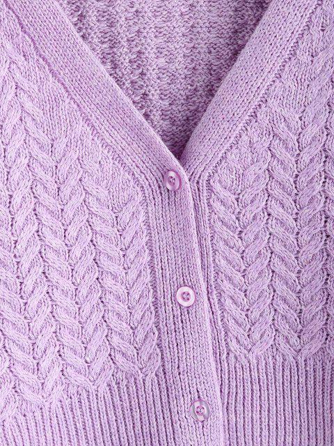 buy Ribbed Trim Button Up Cable Knit Cardigan - LIGHT PURPLE ONE SIZE Mobile