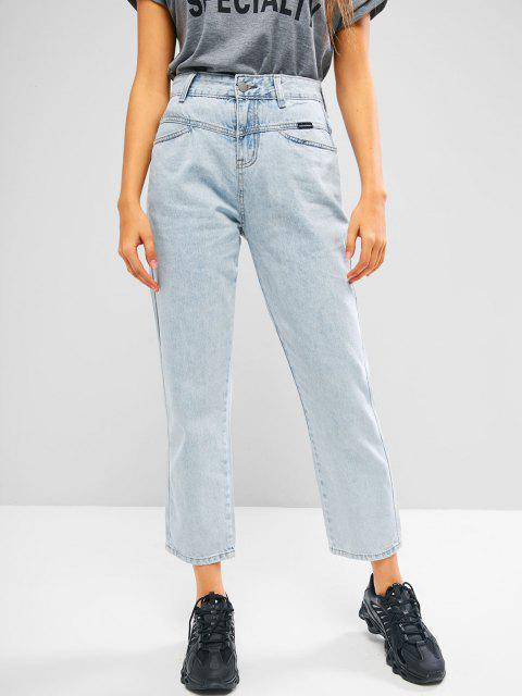 women Straight Bleach Wash Jeans - LIGHT BLUE XL Mobile