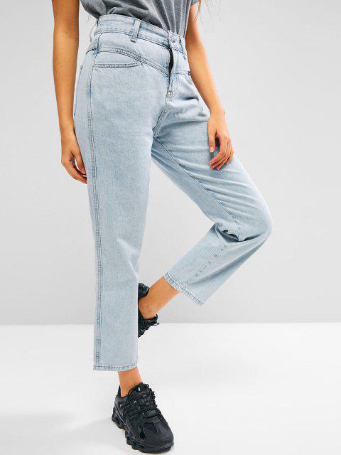 shop Straight Bleach Wash Jeans - LIGHT BLUE M Mobile