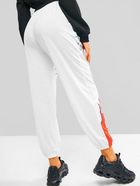 women's Drawstring Flame Print Pocket Beam Feet Pants - WHITE L Mobile