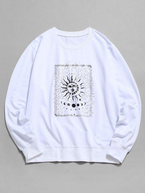 unique Sun and Moon Graphic Crew Neck Sweatshirt - WHITE 2XL Mobile