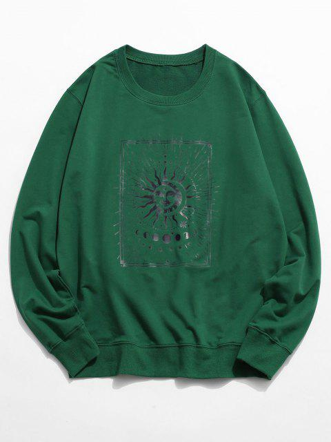 chic Sun and Moon Graphic Crew Neck Sweatshirt - DEEP GREEN 2XL Mobile