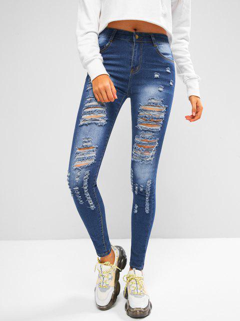 unique Mid Rise Distressed Skinny Jeans - DENIM DARK BLUE M Mobile