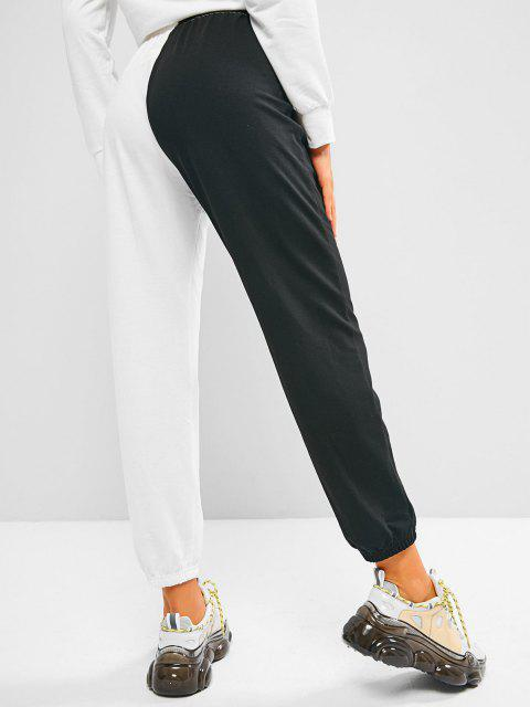 women ZAFUL Two Tone Bicolor Butterfly Patched Sweatpants - BLACK L Mobile